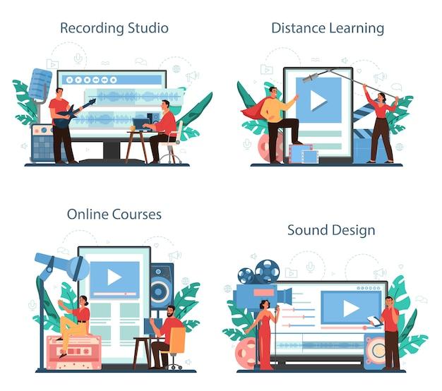 Serviço online de engenheiro de som ou conjunto de plataforma