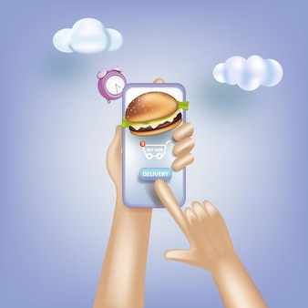 Serviço online de entrega de compras de supermercado, pedidos online de entrega de alimentos e comércio eletrônico