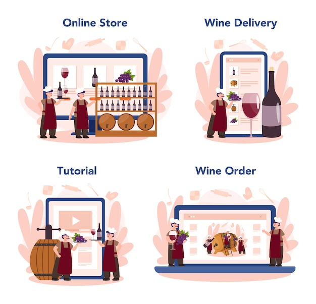 Serviço online de fabricante de vinhos ou conjunto de plataforma