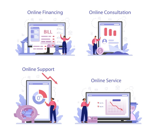 Serviço online de falência ou conjunto de plataforma