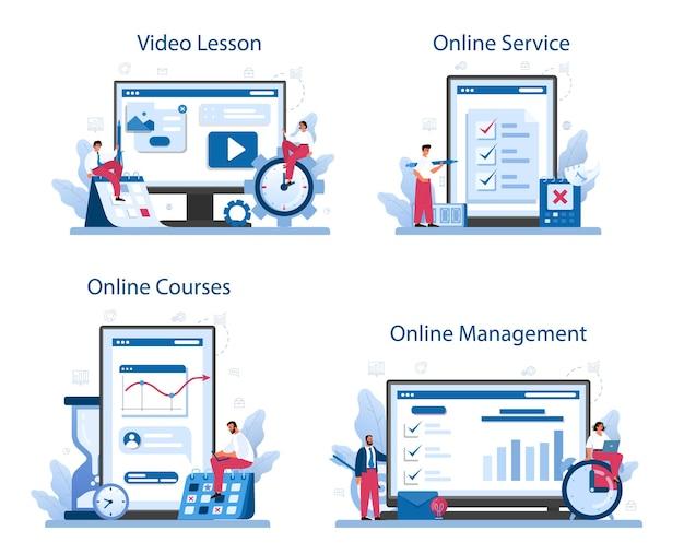 Serviço online de gerenciamento de tempo ou conjunto de plataforma