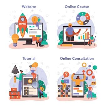 Serviço online de gestão de marca ou conjunto de plataformas. gerente desenvolvendo design exclusivo. o reconhecimento da marca como estratégia de marketing. consulta online, curso, tutorial, site. ilustração vetorial plana