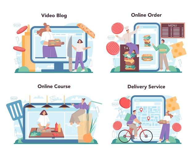 Serviço online de hamburgueria de fast food ou conjunto de plataforma chef cozinheiro saboroso