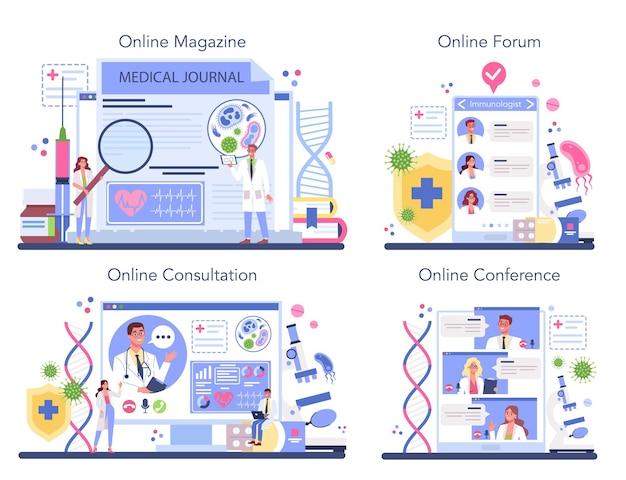Serviço online de imunologista profissional ou conjunto de plataformas.