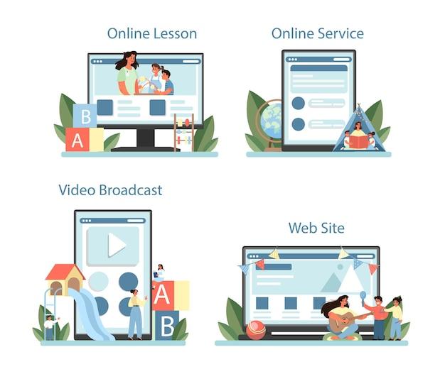 Serviço online de jardim de infância ou conjunto de plataforma