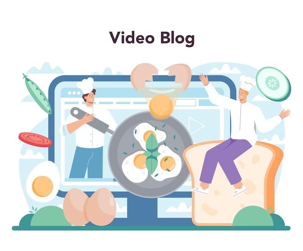 Serviço online de ovos fritos saborosos ou plataforma frita mexida