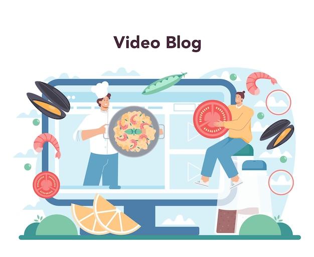 Serviço online de paella ou plataforma de prato tradicional espanhol com frutos do mar