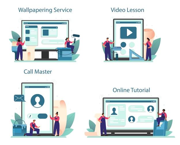 Serviço online de papel de parede ou conjunto de plataformas