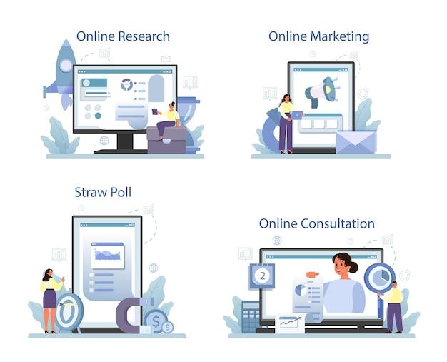 Serviço online de pesquisa de marketing ou conjunto de plataformas