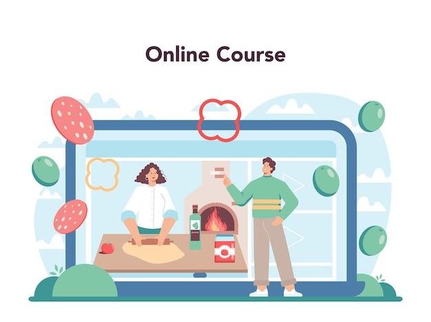 Serviço online de pizzaria ou chef de plataforma cozinhando pizzas deliciosas