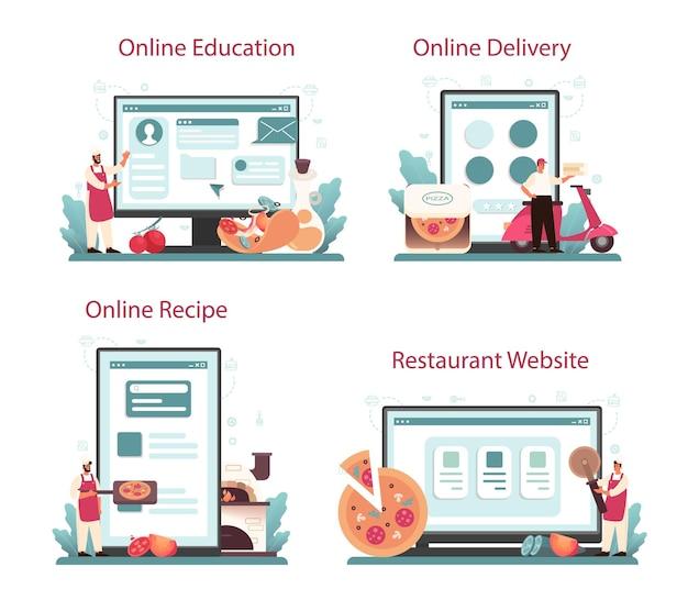 Serviço online de pizzaria ou conjunto de plataformas. chef cozinhando uma deliciosa pizza saborosa. comida italiana. educação online, entrega, receita, site.