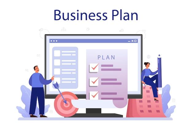 Serviço online de plano de negócios ou ideia de plataforma de negócios