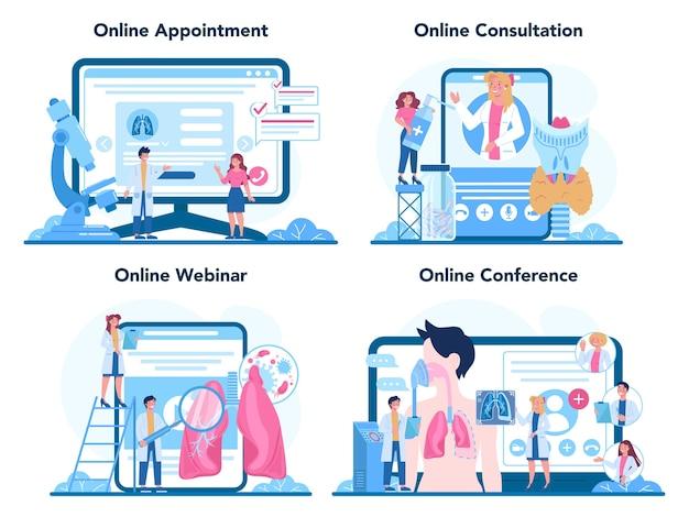 Serviço online de pneumologista ou conjunto de plataforma