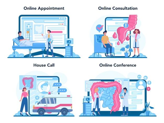 Serviço online de proctologista ou conjunto de plataforma