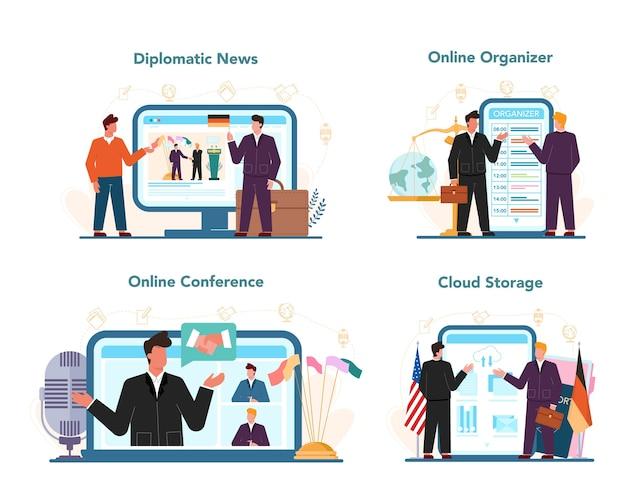 Serviço online de profissão de diplomata ou conjunto de plataforma