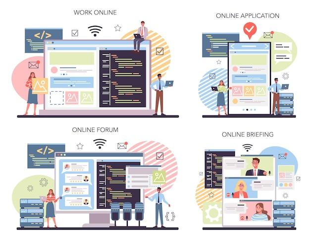Serviço online de programação ou conjunto de plataforma