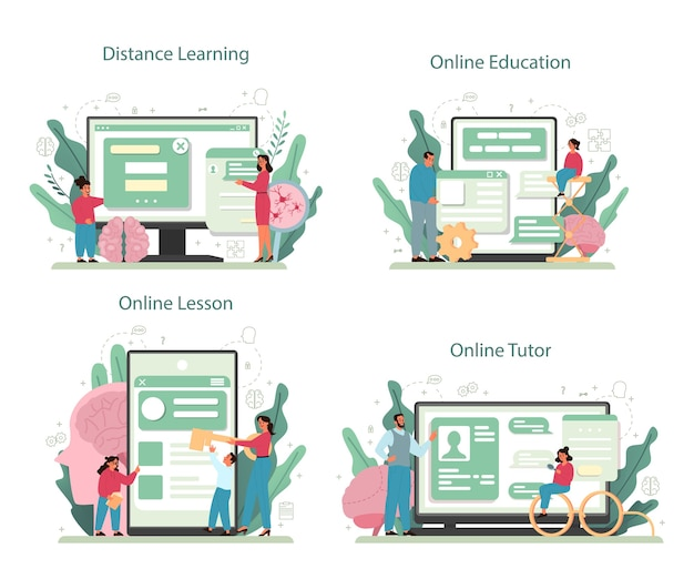 Serviço online de psicologia ou conjunto de plataformas. estudo de saúde mental e emocional. estudar a mente e o comportamento humano. aprendizagem online, tutor, educação, aula.