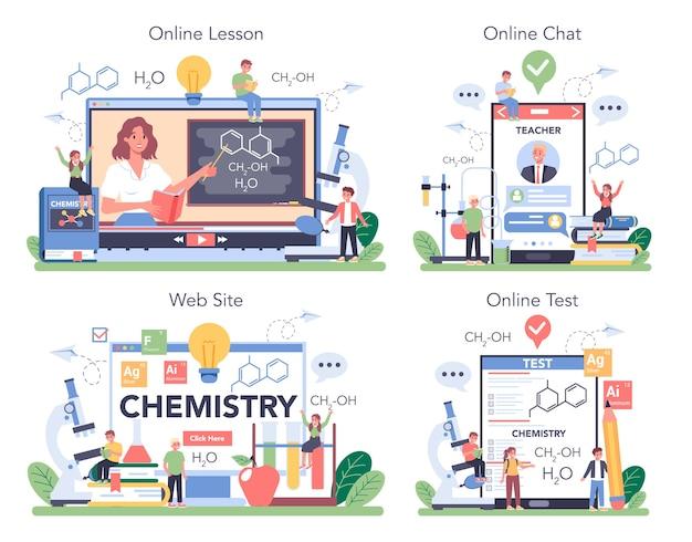 Serviço online de química ou conjunto de plataforma