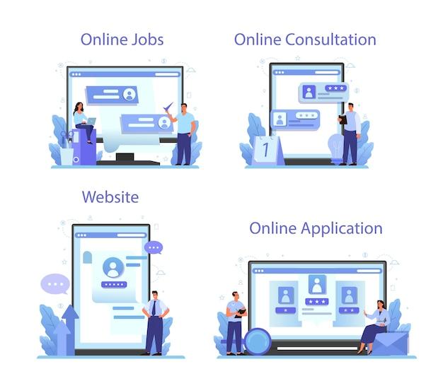 Serviço online de recursos humanos ou conjunto de plataformas