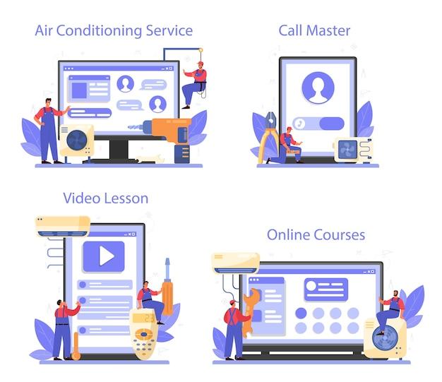 Serviço online de reparo e instalação de ar condicionado ou conjunto de plataforma