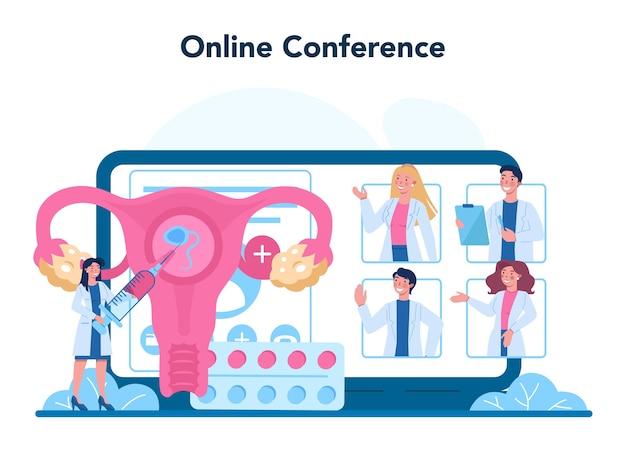 Serviço online de reprodutologista ou ilustração de plataforma