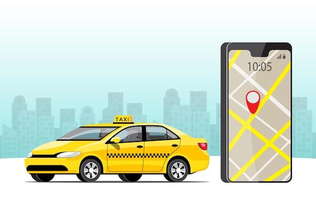 Serviço online de táxi com mapa