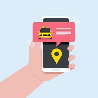 Serviço online de táxi com o uso de ilustração de telefone móvel