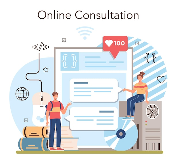 Serviço online de ti educacional ou software de criação de plataforma para alunos