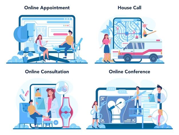 Serviço online de traumatologista ou conjunto de plataforma