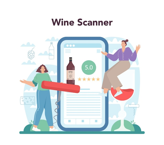 Serviço online de vinho ou vinho de uva plataforma em uma garrafa e um copo cheio