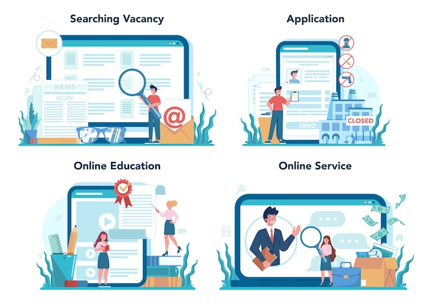 Serviço online desempregado ou conjunto de plataforma