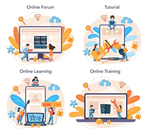 Serviço online do administrador do sistema ou conjunto de plataforma