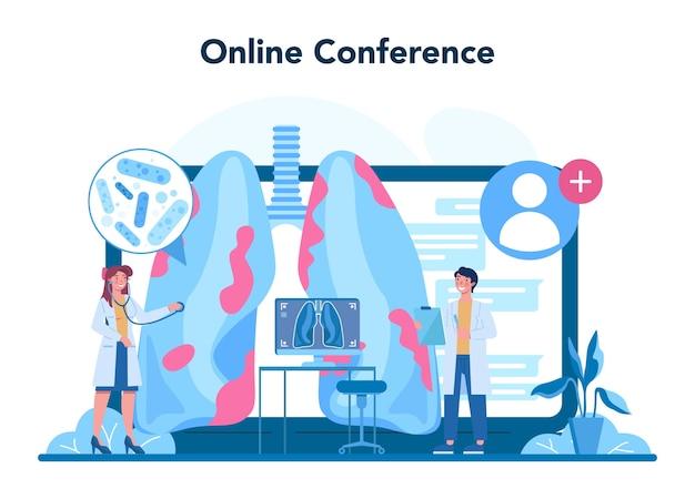 Serviço online especializado em tuberculose ou ilustração de plataforma
