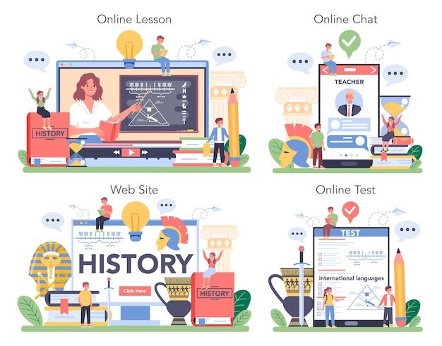 Serviço online histórico ou ilustração do conjunto de plataforma