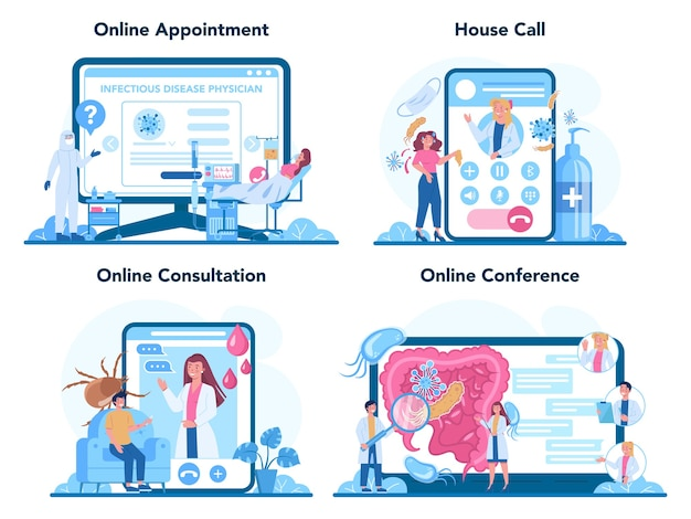 Serviço online infectista profissional ou conjunto de plataforma