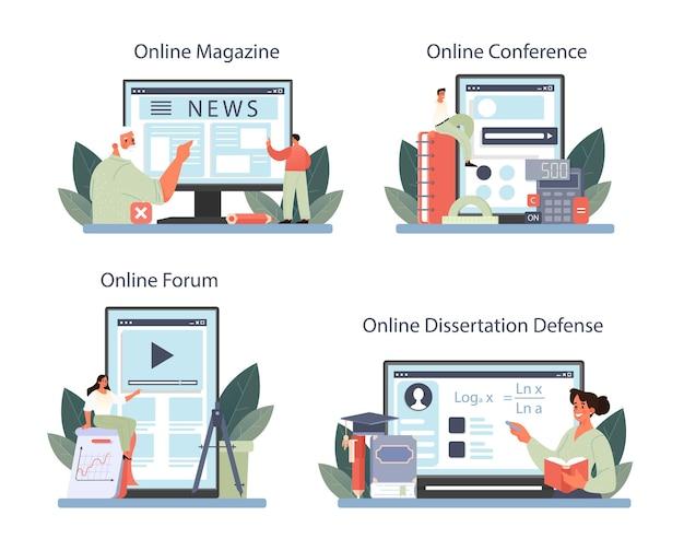 Serviço online matemático ou conjunto de plataformas. ilustração vetorial.
