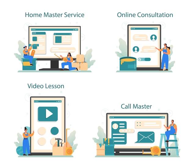 Serviço online mestre doméstico ou conjunto de plataforma.