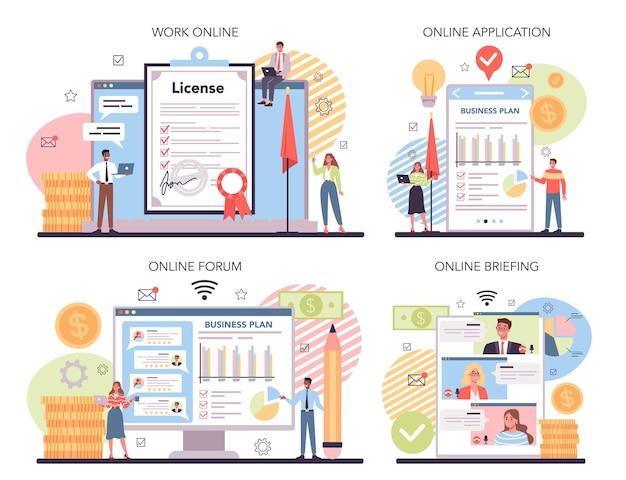 Serviço online para investidores ou conjunto de plataforma