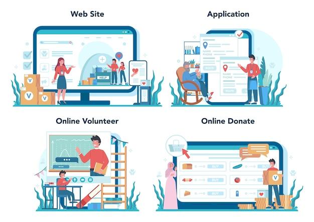 Serviço online voluntário social ou conjunto de plataforma