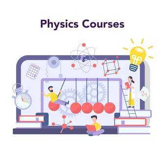 Serviço ou plataforma de educação online de matéria escolar de física