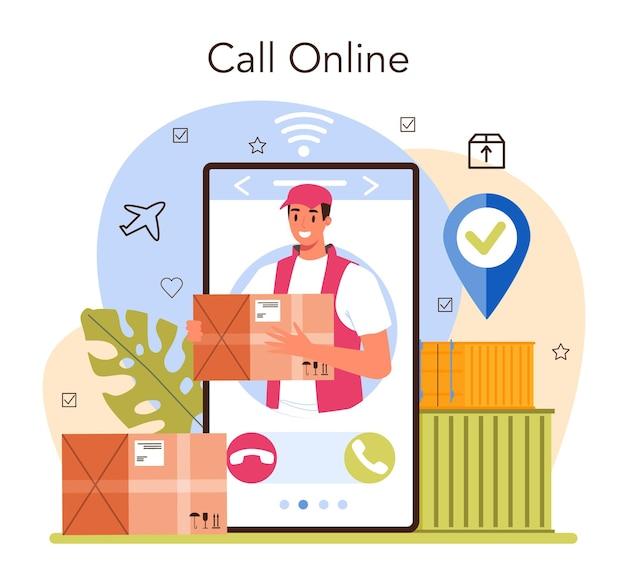 Serviço ou plataforma de logística online. ideia de transporte, distribuição