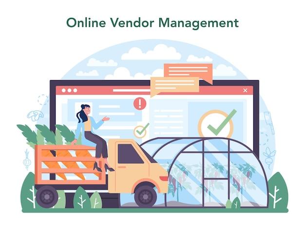 Serviço ou plataforma on-line da indústria de cultivo de hortaliças. mantimentos da vila