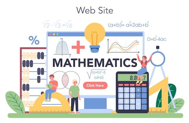 Serviço ou plataforma online da escola de matemática. aprendizagem matemática, ideia de educação e conhecimento. local na rede internet.
