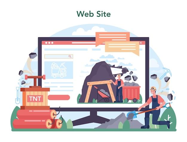 Serviço ou plataforma online da indústria de carvão. mineral e natural