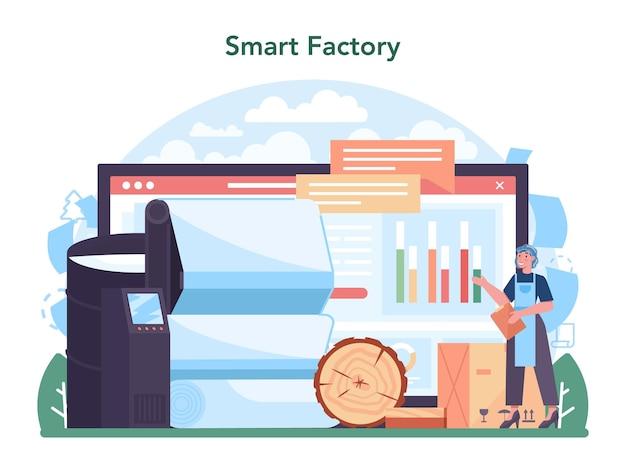 Serviço ou plataforma online da indústria de papel. processamento de madeira e papel