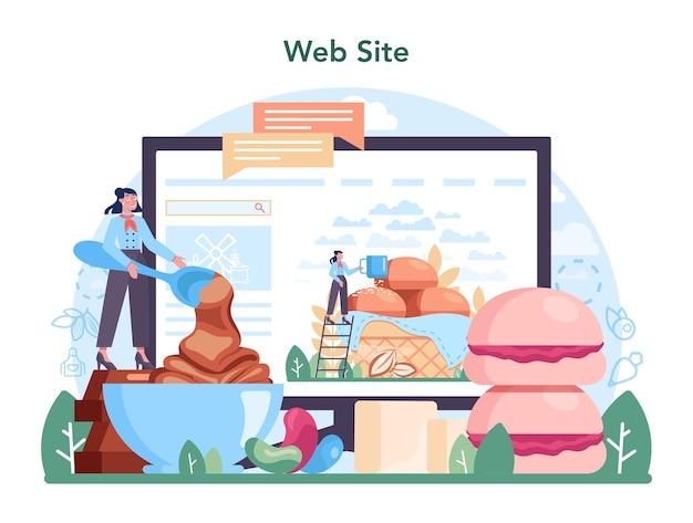 Serviço ou plataforma online da indústria de produção de confeitaria