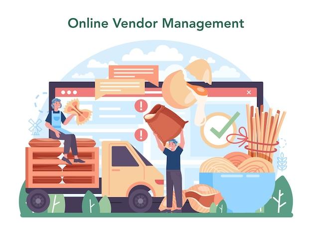 Serviço ou plataforma online da indústria de produção de macarrão ou espaguete