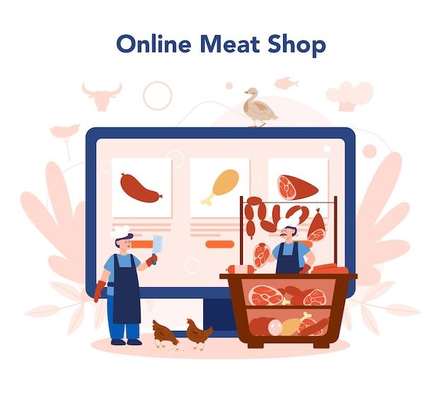 Serviço ou plataforma online de açougueiro ou açougueiro