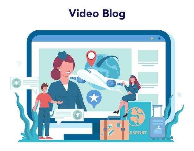 Serviço ou plataforma online de aeromoça. lindas comissárias de bordo ajudam os passageiros no avião. blog de vídeo.