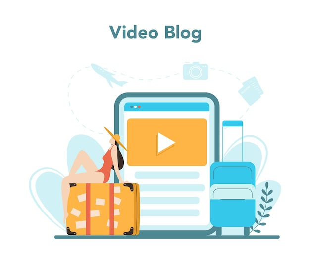 Serviço ou plataforma online de agência de viagens. trabalhador de escritório que vende passagens, cruzeiros, passagens aéreas ou passagens ferroviárias. blog de vídeo.